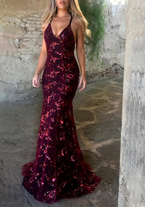 Burgundy Sequin Spaghetti Strap Backless Mermaid Glitter V-neck Elegant  Party Maxi Dress - Maxi Dresses - Dresses ff888832c