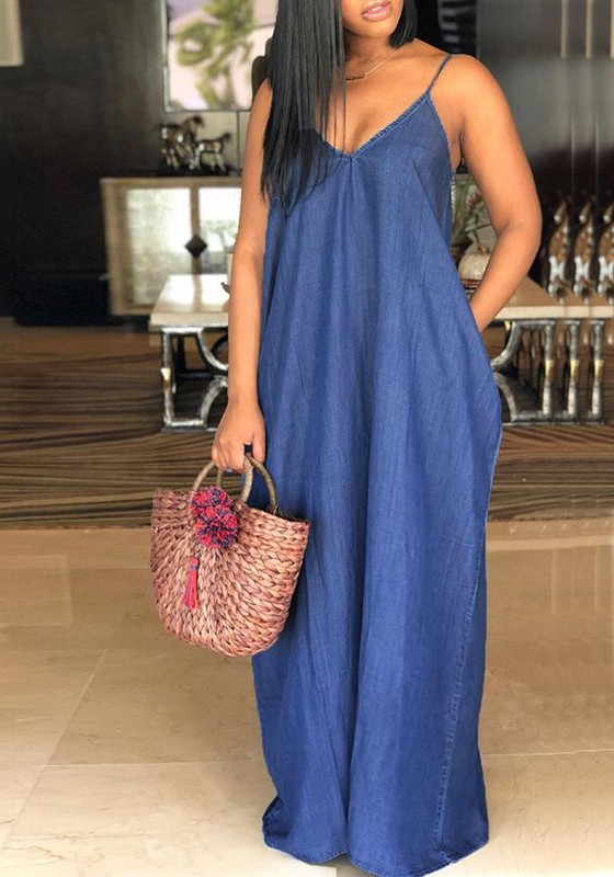 a78dc011 Dark Blue Pockets Draped Spaghetti Strap Plus Size V-neck Casual Denim Maxi  Dress - Maxi Dresses - Dresses