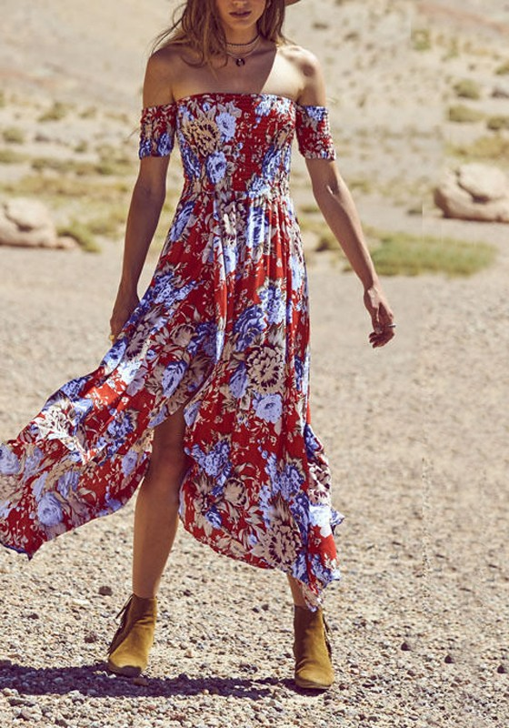 6574d5e601f6 Red Floral Draped Slit Irregular Off Shoulder Ruched Flowy Bohemian Party  Maxi Dress