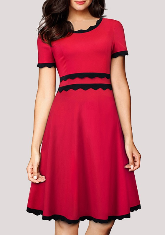164afd734ae Red Pleated Bodycon A-Line Formal Banquet Elegant Party Midi Dresses - Midi  Dresses - Dresses