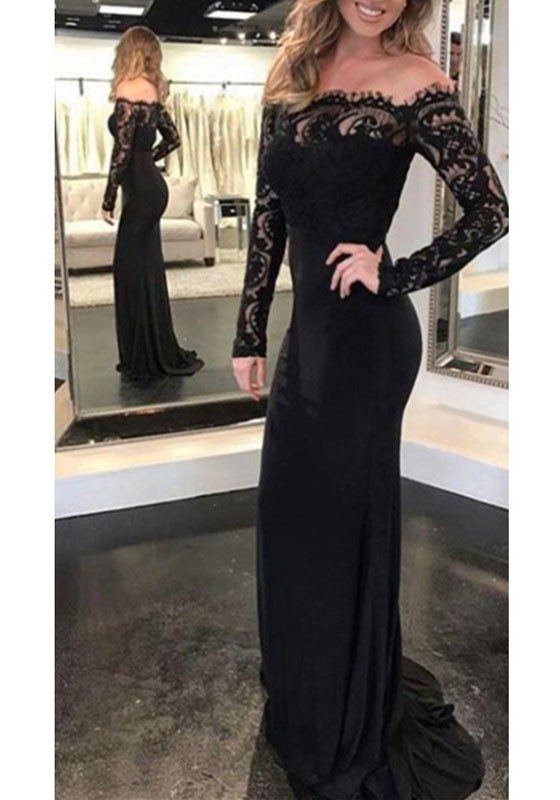 dc9da2c5ddca Black Patchwork Lace Off Shoulder Backless Banquet Mermaid Elegant Prom  Party Maxi Dress