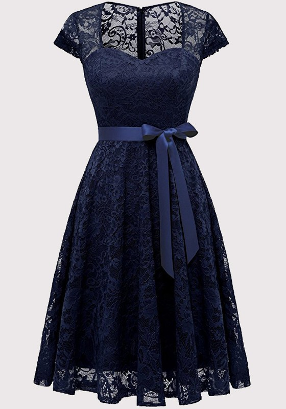 d2cea0758819 Navy Blue Lace Cut Out Sashes Pleated Bodycon V-neck Elegant Party Midi  Dress - Midi Dresses - Dresses