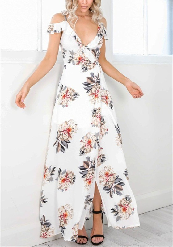 a00dd030f94 White Floral Sashes Lace-up Spaghetti Strap Deep V-neck Bohemian Party Maxi  Dress