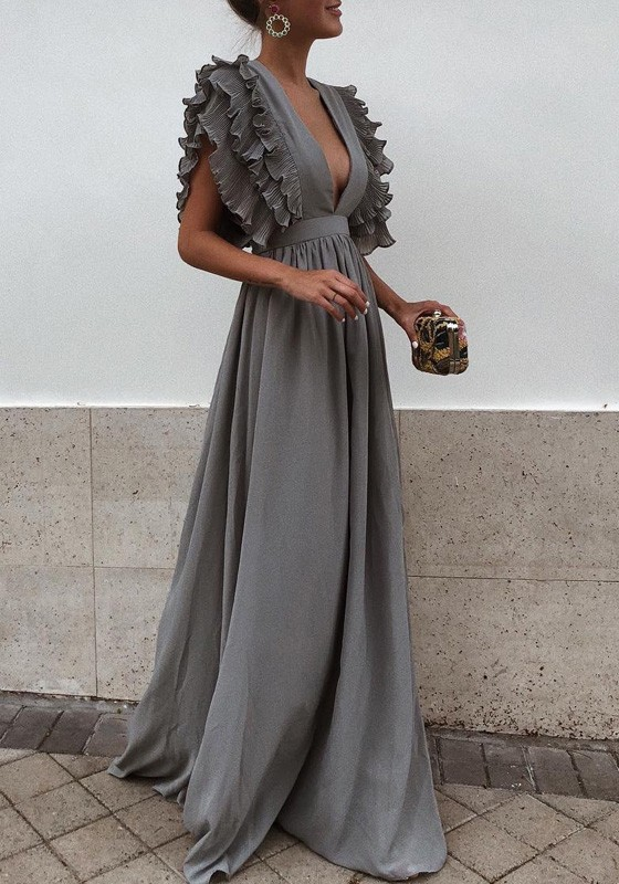 a886f29f3 Grey Pleated Ruffle Deep V-neck Evening Party Prom Cute Elegant Maxi Dress  - Maxi Dresses - Dresses