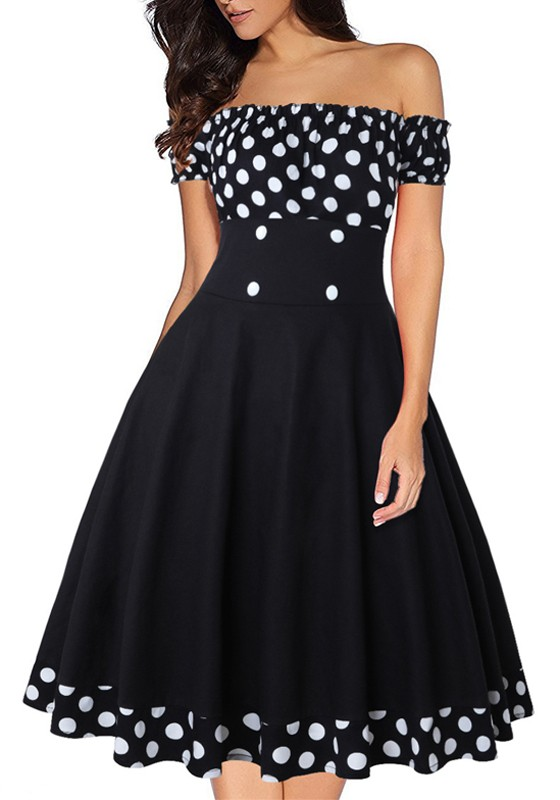 b3c3d9439b Black Polka Dot Print Draped Off Shoulder Vintage Midi Dress - Midi Dresses  - Dresses