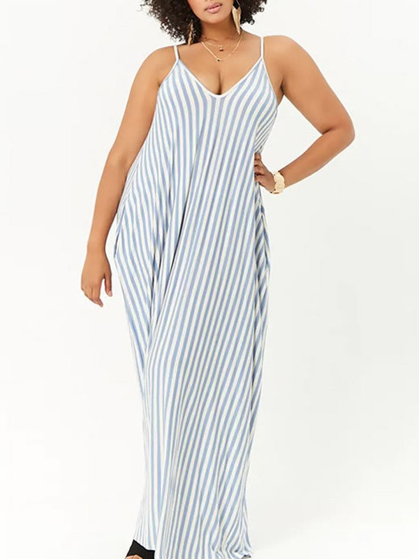 Light Blue-White Striped Draped Pockets Spaghetti Strap Plus Size Casual  Maxi Dress
