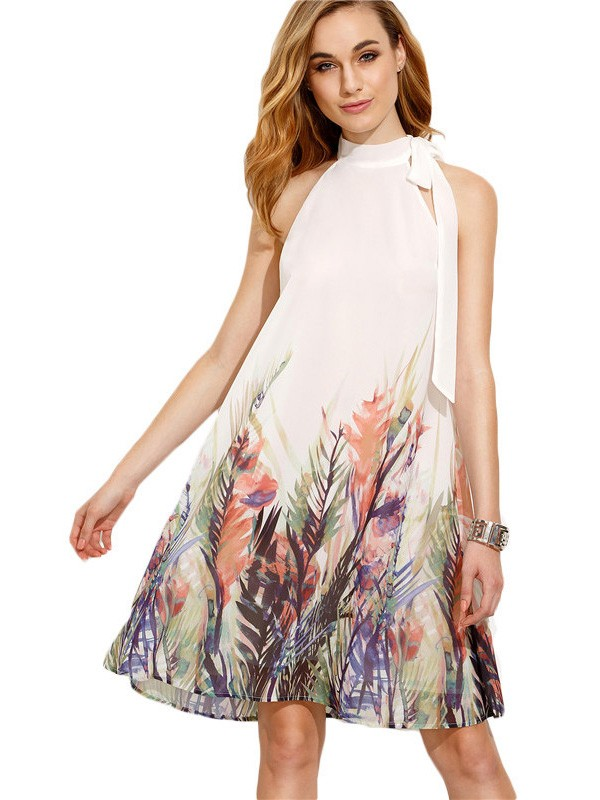 White Floral Print Knee Length Casual Midi Dress