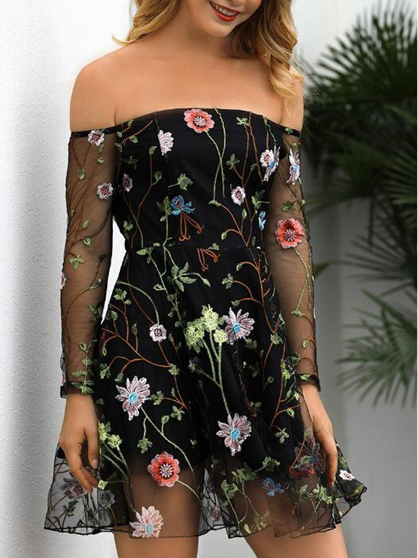 9b0e03f35f4 Black Floral Embroidery Grenadine Off Shoulder Backless Mexican Vintage Homecoming  Party Mini Dress - Mini Dresses - Dresses