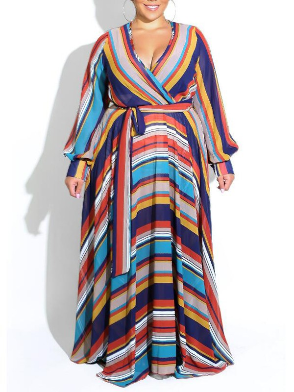 3c2b7ccb2fb4 Blue Color Block Striped Print Sashes Plus Size Deep V-neck Bohemian Maxi  Dress