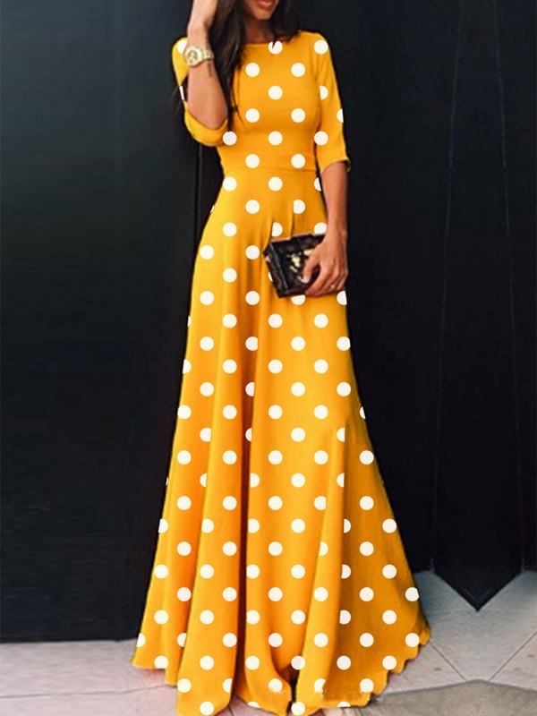 Yellow Polka Dot High Waisted Draped Plus Size Elegant Homecoming