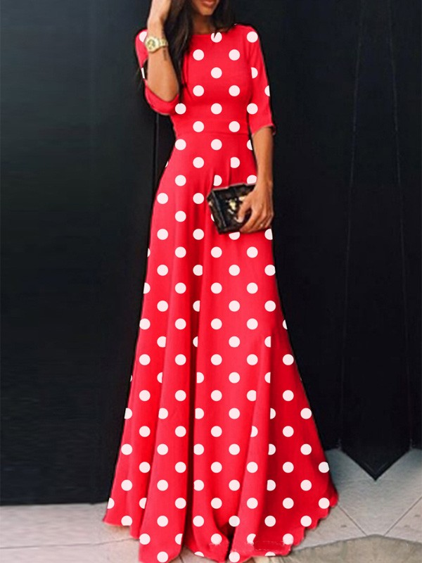 Red Polka Dot High Waisted Draped Plus Size Elegant Homecoming Party ...