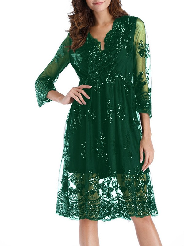 317d1d5bee9f Dark Green Patchwork Floral Embroidery Grenadine Sequin Double-deck Long  Sleeve Sheer Homecoming Party Elegant Midi Dress - Midi Dresses - Dresses