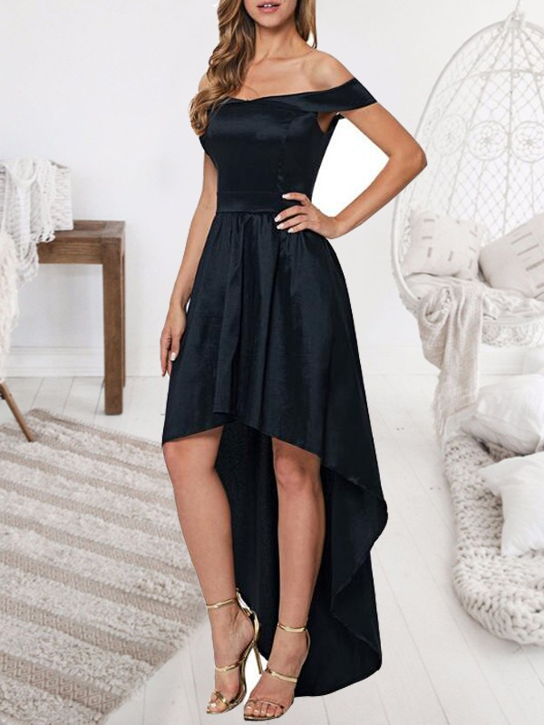 8452afbe98 Black Pleated Irregular Off Shoulder Backless High-low Homecoming Elegant  Party Maxi Dress - Maxi Dresses - Dresses