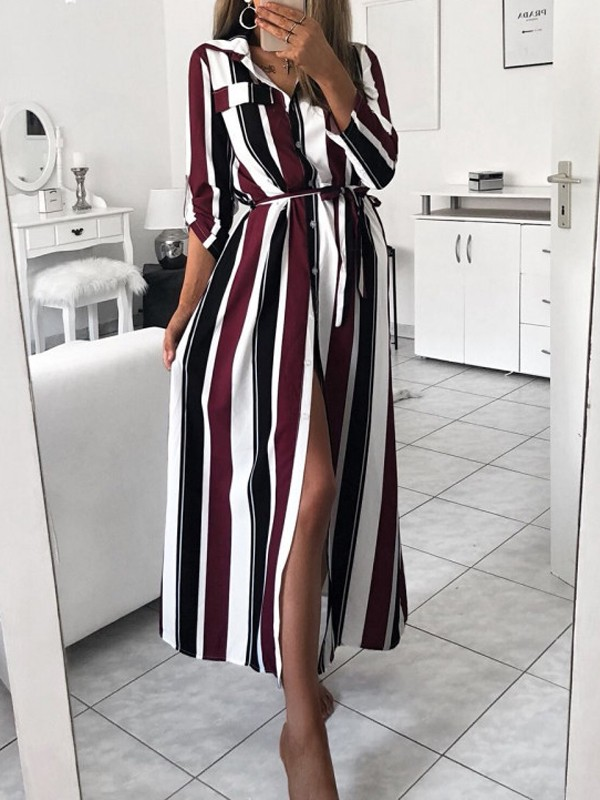 fb8183f2758 Wine Red Striped Single Breasted Sashes Side Slit Turndown Collar Long  Sleeve Casual Maxi Dress - Maxi Dresses - Dresses