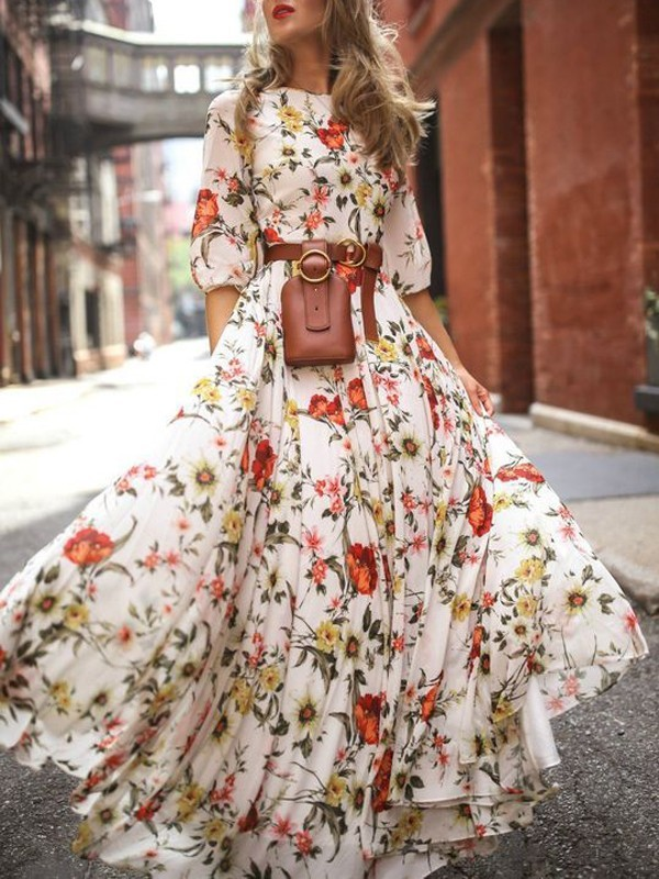 ece7e9ad620 White Flower Floral Draped Flowy Elbow Sleeve Bohemian Beach Vacation Maxi  Dress - Maxi Dresses - Dresses
