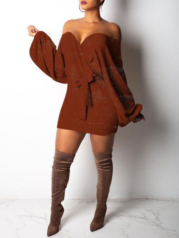 a47bf437def Brown Sashes Bright Wire Off Shoulder Sparkly Lantern Sleeve Knit Party Mini  Dress - Mini Dresses - Dresses