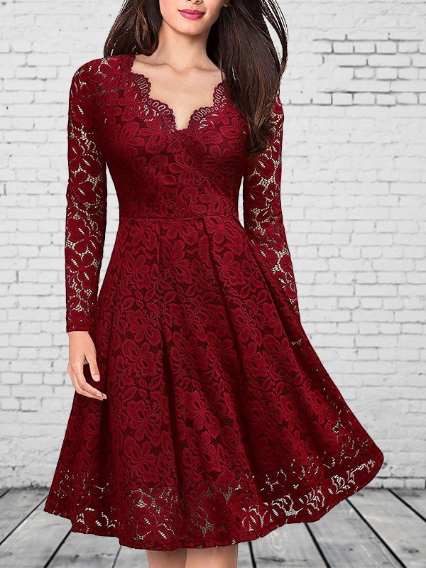 1321eab60729 Wine Red Patchwork Lace V-neck Party Midi Dress - Midi Dresses - Dresses