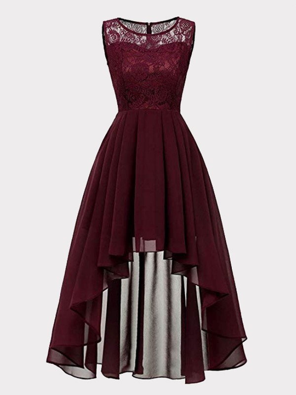 12b2da7b1cc4 Wine Red Patchwork Lace High-low Draped Sleeveless Homecoming Party Maxi  Dress - Maxi Dresses - Dresses