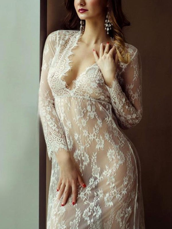 4ddc5e8781 White Floral Patchwork Lace Tulle Deep V-neck Sheer Long Sleeve Maternity  Cover Up Dress - Maxi Dresses - Dresses