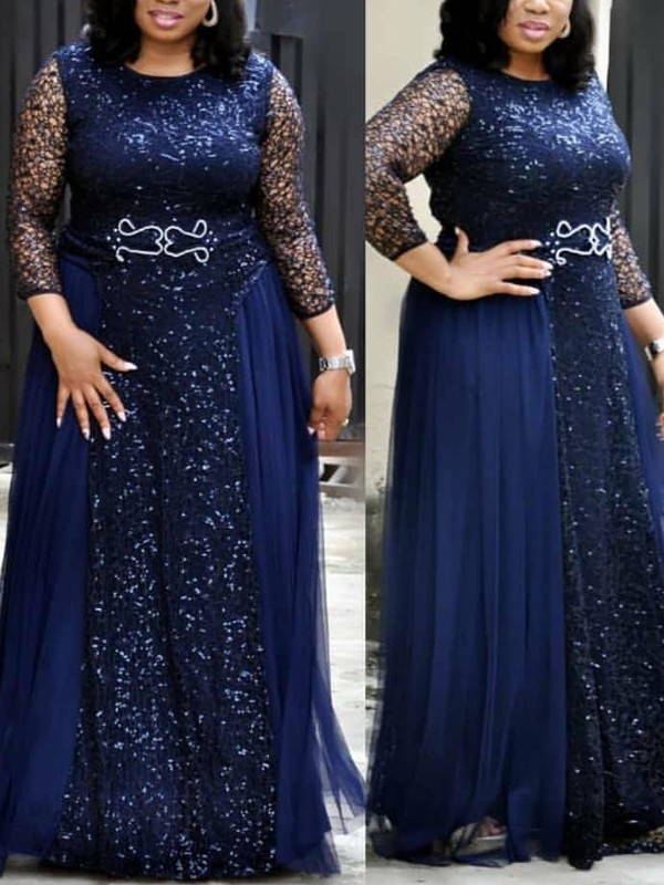 Navy Blue Patchwork Grenadine Lace Sequin Pleated Long Sleeve Sparkly  Glitter Plus Size Party Maxi Dress