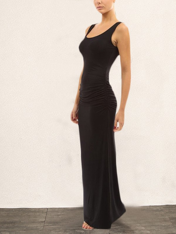 0b026381df Black Pleated Irregular Side Slit Round Neck Sleeveless Elegant Maxi Dress  - Maxi Dresses - Dresses