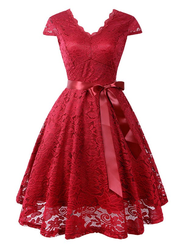 3b60291f74 Wine Red Lace Sashes Draped Cut Out Pleated V-neck Short Sleeve Elegant  Midi Dress