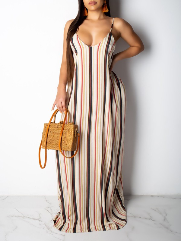 7b5398b41bbf White Striped Spaghetti Strap Pockets Pleated V-neck Beachwear Party Maxi  Dress - Maxi Dresses - Dresses