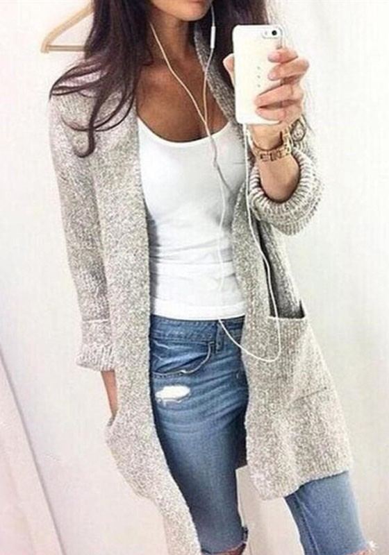 ced6d0c86218 Grey Pockets Crop Plus Size Long Sleeve Casual Going out Cardigan ...