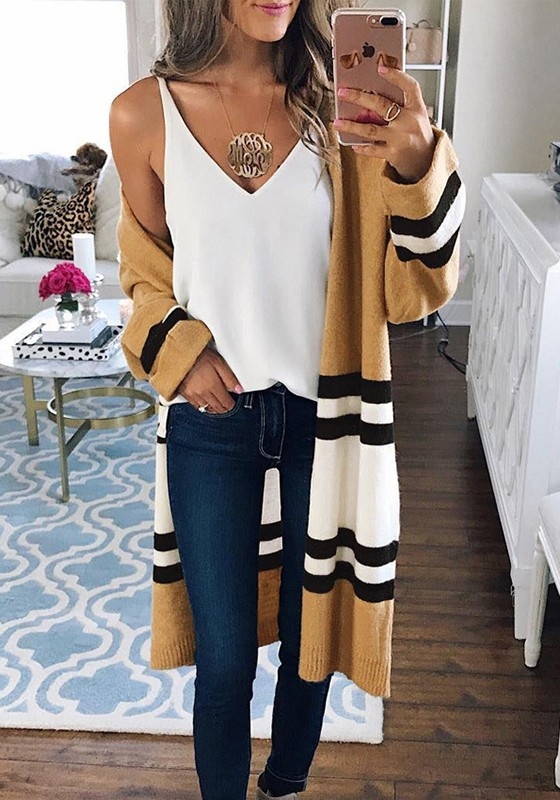 90959bdc60 Yellow White Striped Color Block Long Sleeve Fashion Oversize Cardigan  Sweater - Cardigans - Sweaters - Tops