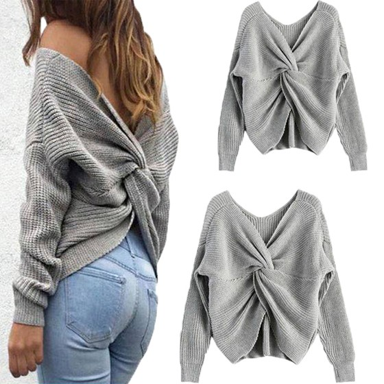 1e81d46d83 Grey Cross Back Backless V-neck Long Sleeve Fashion Knitwear Jumper  Pullover Sweater - Pullovers - Sweaters - Tops