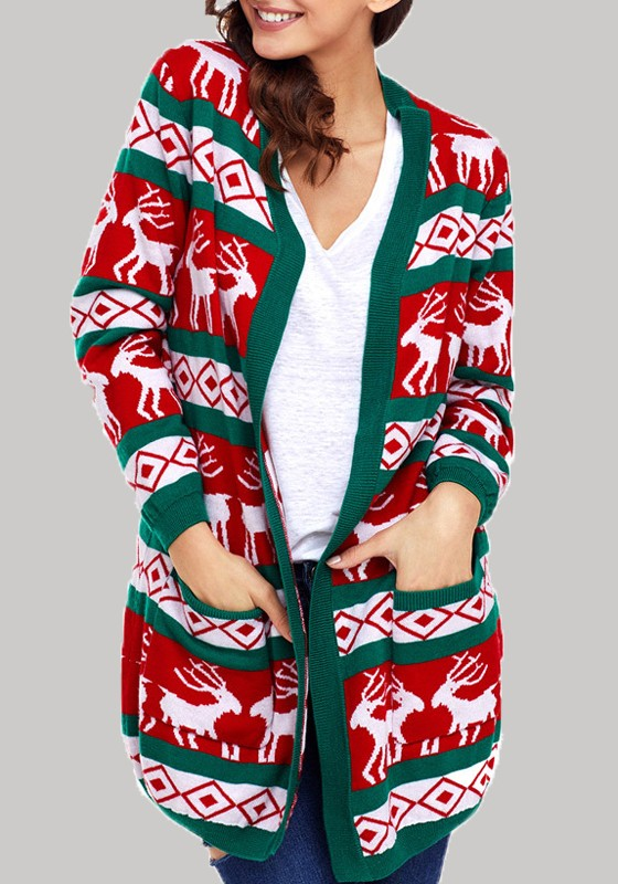 d1ae76a2c Green Floral Pockets Long Sleeve Christmas Cardigan Sweater ...