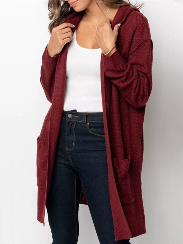 5e841202aa Date Red Pockets Slit Hooded Long Sleeve Oversize Cardigan Sweater -  Cardigans - Sweaters - Tops