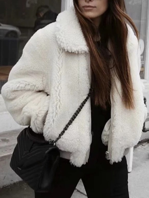 Teddy Faux Fur Coat Sleeve Jacket White Pockets Zipper Long Fashion vwmyN0O8nP