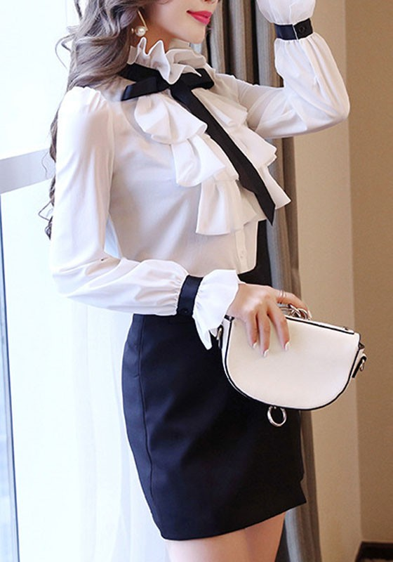 fbab098fd54404 White Ruffle Single Breasted Lace-up Band Collar Elegant Office Worker/Daily  Blouse - Blouses - Tops