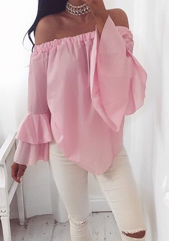 9ead630b830144 Pink Irregular Boat Neck Off Shoulder Fashion Summer Chiffon Blouse -  Blouses - Tops