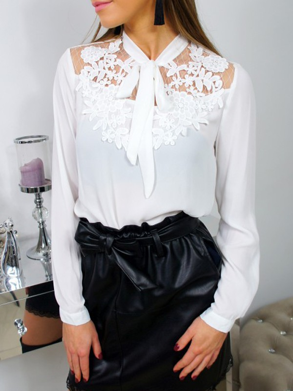 ab46ca23b2a594 White Patchwork Lace Bow Long Sleeve Elegant Blouse - Blouses - Tops