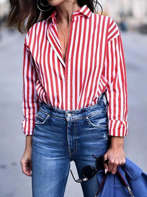 e320764a07b Red-White Striped Single Breasted Turndown Collar Long Sleeve Fashion Blouse