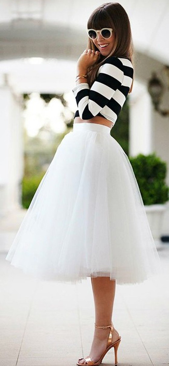 White Plain Draped Grenadine New Fashion Latest Women Puffy Tulle High Waisted Knee Length Adorable Tutu
