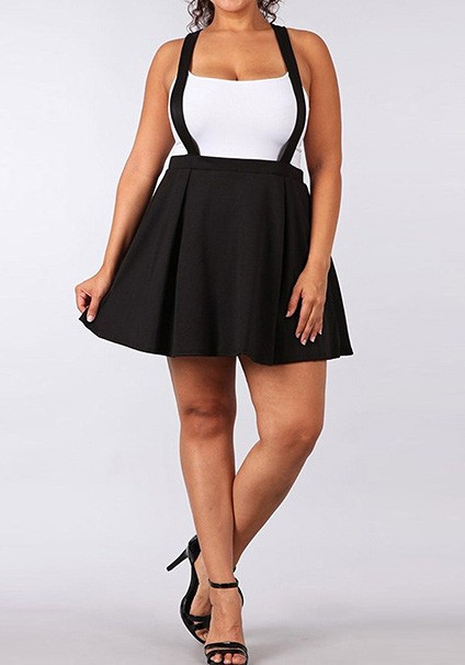 Black Pleated Tutu Plus Size Skater High Waisted Cute Overall