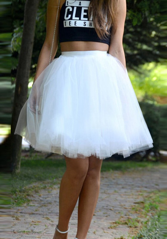 c5f59ab44 White Patchwork Pleated Grenadine Fluffy Puffy Tulle High Waisted Skirt -  Skirts - Bottoms