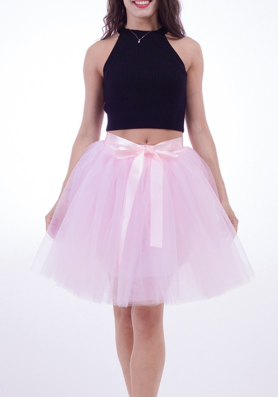 55267e88478a68 Pink Draped Grenadine Bow Puffy Tulle High Waisted Adorable Tutu Skirt -  Skirts - Bottoms