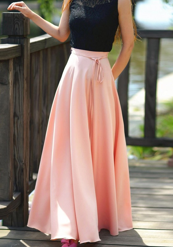 d6ef06104 Pink Sashes Draped Pleated Big Swing High Waisted Bohemian Long Skirt -  Skirts - Bottoms