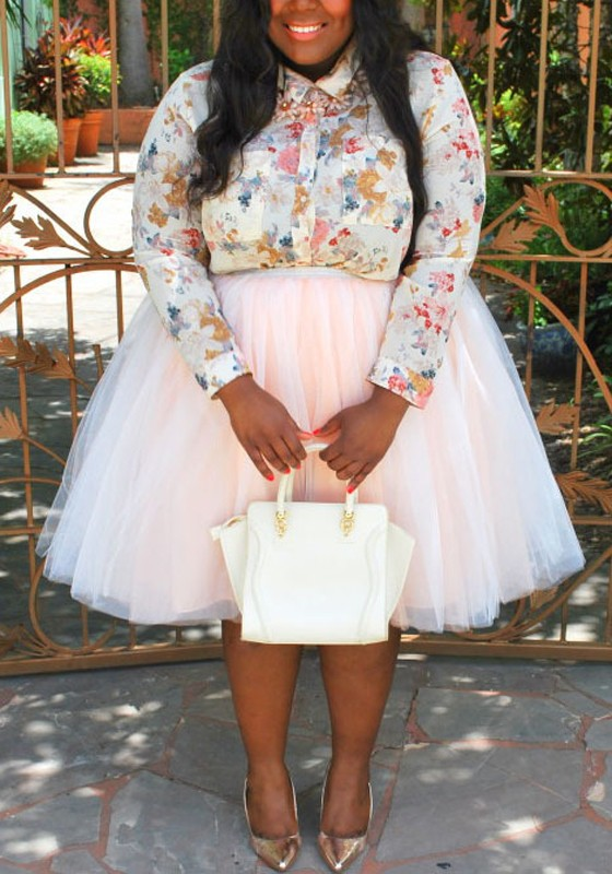 ddac6aa3d09 Light Pink Pleated Grenadine Puffy Tulle Plus Size Tutu High Waisted Party  Skirt - Skirts - Bottoms