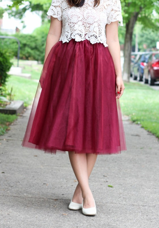 862d3ba744 Burgundy Grenadine Pleated High Waisted Homecoming Party Sweet Skirt -  Skirts - Bottoms
