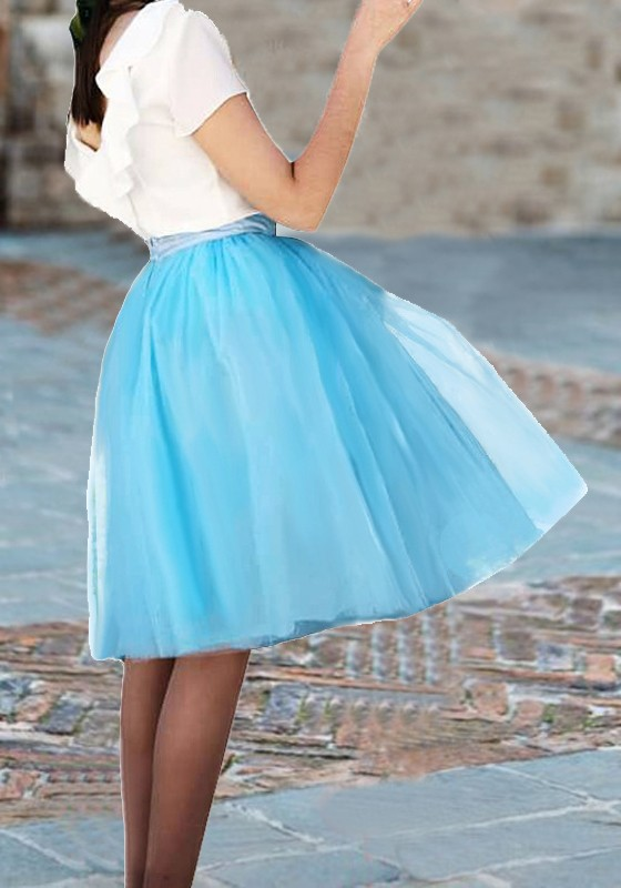 4a3aa2814b5 Light Blue Grenadine Draped Fluffy Puffy Tulle Tutu Homecoming Party Sweet  Skirt - Skirts - Bottoms