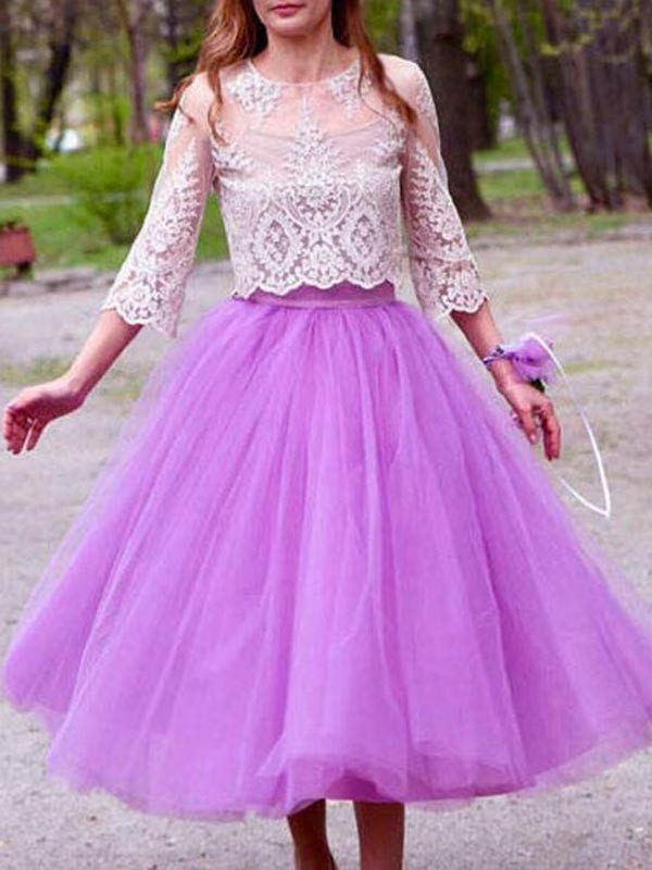 20beec82271a3c Purple Grenadine Pleated High Waisted Tulle Tutu Homecoming Party Cute  Elegant Long Skirt - Skirts - Bottoms