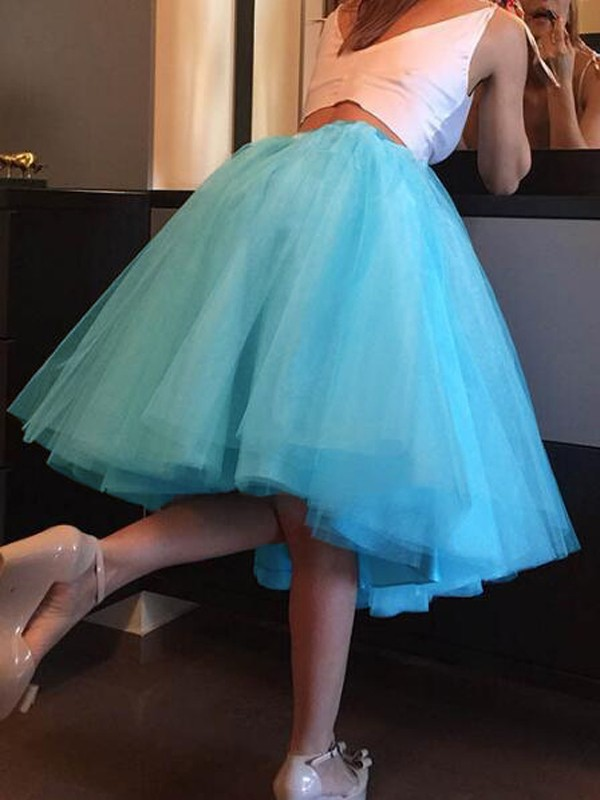 c4a6d726de Sky Blue Grenadine Pleated High Waisted Tulle Tutu Homecoming Party Elegant  Midi Skirt - Skirts - Bottoms