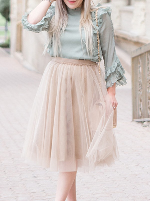 7bfd8bc82a Light Coffee Patchwork Grenadine Pleated Tutu Homecoming Party Cute Elegant  Midi Skirt - Skirts - Bottoms