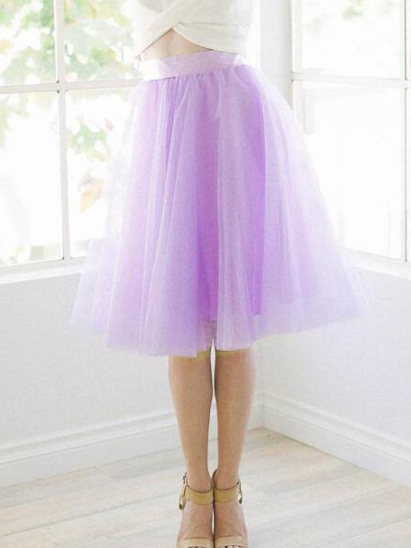 4d765301e5 Light Purple Grenadine Pleated High Waisted Tulle Tutu Homecoming Party  Cute Elegant Skirt