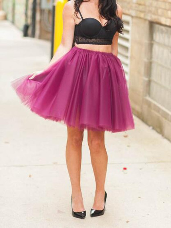 648369b33c25ec Purple Grenadine Pleated High Waisted Tulle Tutu Homecoming Party Cute  Elegant Skirt - Skirts - Bottoms